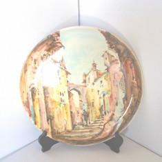 Farfurie decorativa ceramica, pictata manual - semnata Mario Grimaldi, Albisola