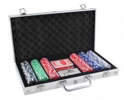 Set Joc de Poker 300 de Jetoane, Valiza Metalica si Accesorii Joc foto
