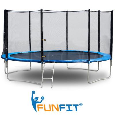 Trambulina Mare FunFit pentru Copii si Adulti, Diametru 374cm 12FT, Scarita Inclusa, Capacitate 150kg, Plasa Laterala cu Fermoar si Picioare Duble foto