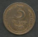 RUSIA  URSS  3  COPEICI  KOPEIKI  1949  [2]   livrare in cartonas, Europa, Bronz-Aluminiu