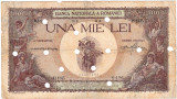 Bancnota 1000 lei 1939 overprint,supratipar anulata prin perforare