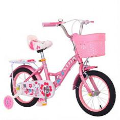 Bicicleta Ary cu roti cauciuc,roti ajutatoare,cosulet pentru jucarii,2-6 ani, 16, 12, 1