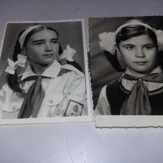 2 Fotografii portret elev pionier si tinuta pionier cu cravata de pionier,T.GRAT