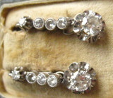 ***Cercei diamante aur 18 k si platina