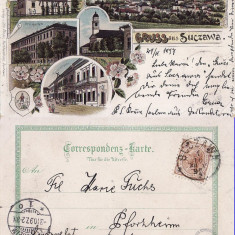 Salutari din Suceava  (Litho) - Litografie Bucovina 1897, Circulata, Printata