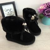 Cizme negre imblanite ursulet funda fete copii bebe piele 28 29 30 GGM, Negru