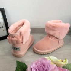 Cizme roz imblanite de iarna cu fundita piele pt copii fete 27 28 30 31 GGM, Negru