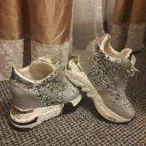 Vand adidasi cu platforma, foarte moderni- pantofi sport argintii, 37 2/3, Argintiu