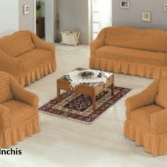 Set huse creponate si elastice canapele si fotolii 3+2+1+1 Mustar Inchis