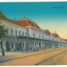 4316 - ORADEA, Railway Station, Romania - old postcard - used - 1916