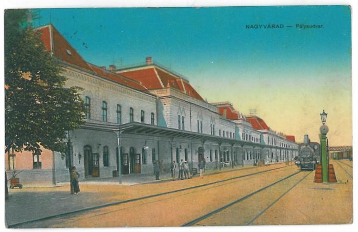 4316 - ORADEA, Railway Station, Romania - old postcard - used - 1916