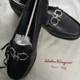Pantofi Salvatore Ferragamo, 39, Negru, Cu talpa joasa