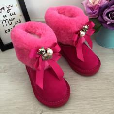 Cizme roz mov imblanite urs ursulet cu funda pt fete copii bebe piele 24 GGM