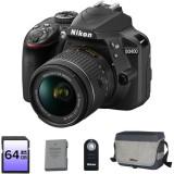 Aparat foto DSLR Nikon D3400, 24,2MP Black + Obiectiv AF-P 18-55 VR + Baterie EN-EL14a + Geanta DSLR + Card 64GB + Telecomanda ML-L3