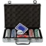 Set poker cu 200 jetoane avand geanta diplomat inclusa, set elegant, cazino, poker holdem