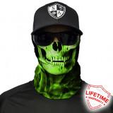 Bandana/Face Shield/Cagula/Esarfa - Skull Tech   Green Crow , made in USA, Din imagine