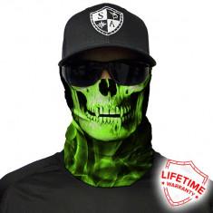 Bandana/Face Shield/Cagula/Esarfa - Skull Tech | Green Crow , made in USA