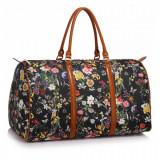 AG00479 - Black Floral Weekend Duffle Bag