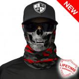 Bandana/Face Shield/Cagula/Esarfa - Fire Red Military Blackout Camo Skull, Din imagine
