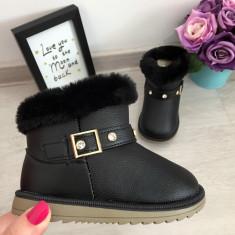 Cizme negre imblanite cu fermoar de iarna fete fetite copii 24 25, Din imagine
