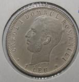 OKAZIE !!! 1 LEU 1906 . UNC . CU PUNCT . EROARE PE REVERS . RAR ., Argint