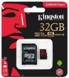 Card de memorie Kingston Canvas React, microSDHC, 32 GB, 100 MB/s Citire, 70 MB/s Scriere, Clasa 10 UHS-I V30 + Adaptor SD