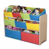 Organizator jucarii Deluxe cu cadru din lemn Multicolor