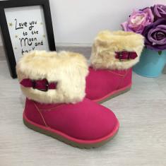 Cizme roz fetite copii cu fermoar imblanite bej de iarna fete 25 26 27 28 29, Din imagine