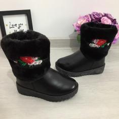 Cizme negre imblanite de iarna brodate flori fermoar fete 24 25, Din imagine
