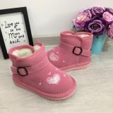 Cizme roz imblanite de iarna cu inimioare roz fete copii 30 31, Din imagine