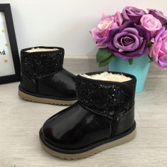 Cizme negre imblanite lacuite cu sclipici fete copii bebe 21, Din imagine