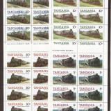 TANZANIA 1985 TRANSPORT TRENURI ( serie dantelata x 8) MNH, Nestampilat