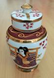Recipient condimente / Vaza - portelan Japonia - coaja de ou - pictata manual