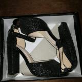 Sandale glitter, 38, Negru