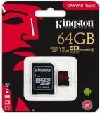 Card de memorie Kingston Canvas React, microSDXC, 64 GB, 100 MB/s Citire, 80 MB/s Scriere, Clasa 10 UHS-I V30 + Adaptor SD