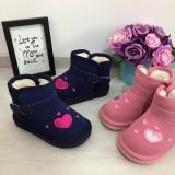 Cizme albastre imblanite iarna cu inimioare roz fete copii 29 30, Din imagine