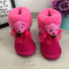 Cizme roz imblanite cu pisicuta ursulet piele pt fete copii 22 23 24 25 GGM, Din imagine