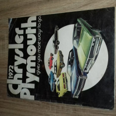 BROSURA PREZENTARE AUTO 1972 PLAYMOUNTH SI CHRYSLER