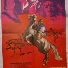 Afisul filmului romanesc Fratii Jderi , desenat , afis de film din 1974
