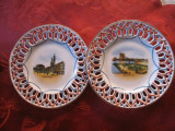 MINIATURA - SET FARFURII DECORATIVE PORTELAN UNGARIA DECOR BUDAPESTA 12.5 CM