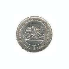 Sierra Leone 1 Leone 1974 - (Bank Anniversary) Cupru-nichel,  KM-26 UNC !!!, Africa