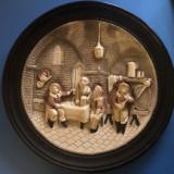 Farfurii vechi,franceze,ceramica,pictata ,cu scene din carciuma