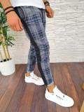 Pantaloni de trening pentru barbati in carouri - PREMIUM - ALBASTRI - A2763 97-1, Din imagine