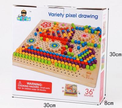 Joc desen tip mozaic cu pioneze, jucarie Montessori foto