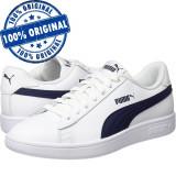 Pantofi sport Puma Smash 2 pentru barbati - adidasi originali - piele naturala, 42.5, 43, 44, 44.5, 45, 46, Alb