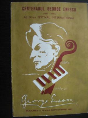 Program - Festival George Enescu, 22 septembrie 1981 foto