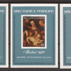 S. TOME E PRINCIPE 1977 PICTURA RUBENS ( 3 colite ndt. deluxe) MNH, Nestampilat