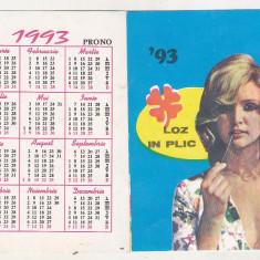 Bnk cld Calendar de buzunar 1993 - Loteria Nationala
