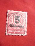 Timbru 5 milioane supratipar pe 100 M ,lila 1923 Germania ,stampilat