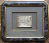 Peisaj urban cu personaje - Tablou din argint - semnat, stantat, Ornamentale